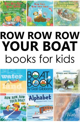 Row Your Boat books and books about boats for kids. Plus Row Your Boat videos. Great additions to preschool nursery rhyme theme activities.