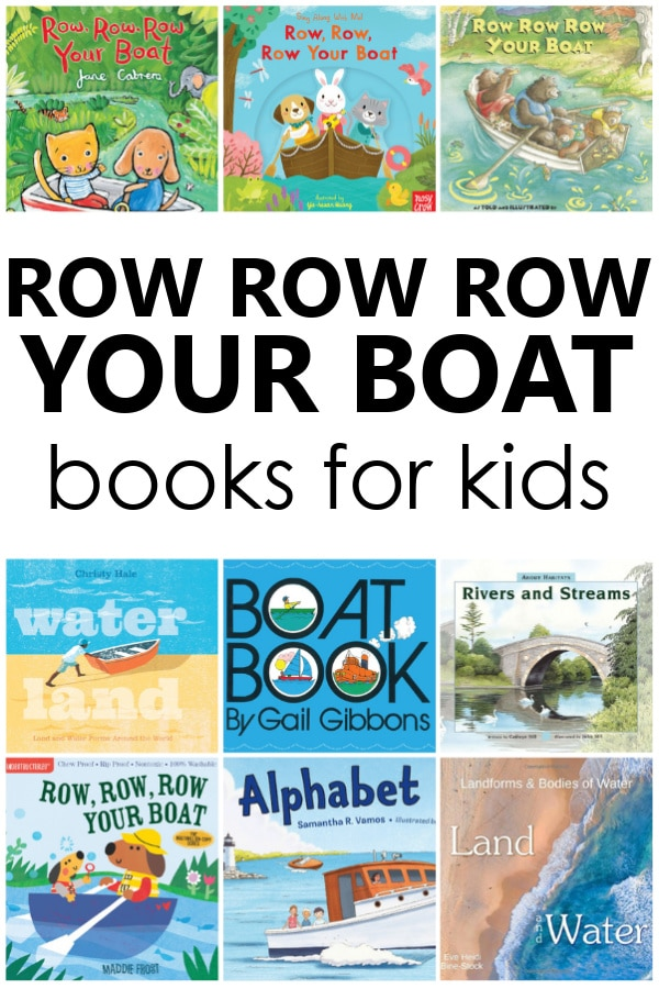 Row Your Boat books and books about boats for kids. Perfect for preschool nursery rhyme theme activities.