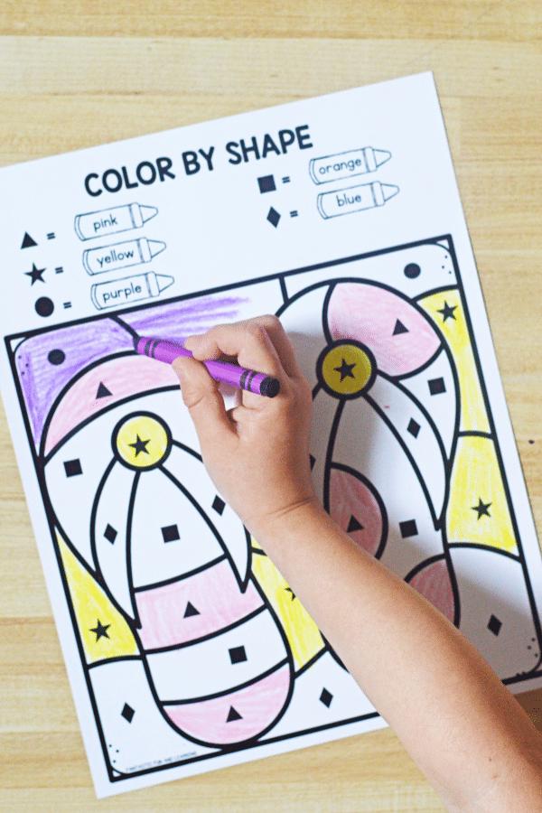 Color by Shape Preschool Summer Math Activities
