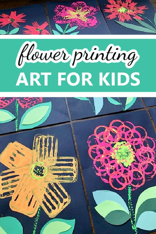 Flower Art for Kids-Printmaking with Kitchen Utensils Spring Craft for Kids