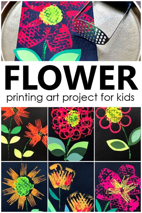 Flower Printing Art Project for Kids-Spring Flower Craft Using Kitchen Utensils