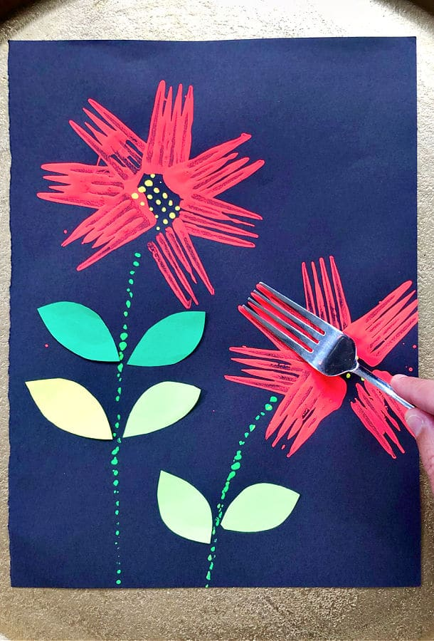 Fork Painted Flower Craft for Kids