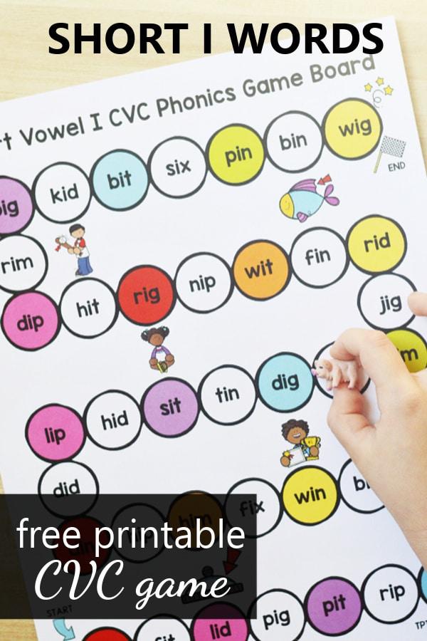 Free Printable CVC Game for Short I Words