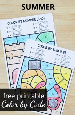 Free Printable Summer Color by Code Math Worksheets