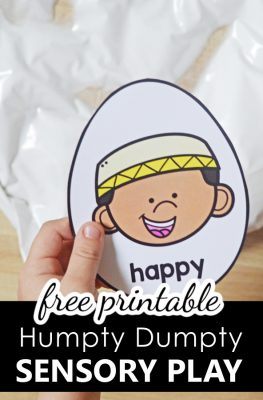 Free printable Humpty Dumpty Nursery Rhyme Sensory Bags-Preschool Feelings Activity