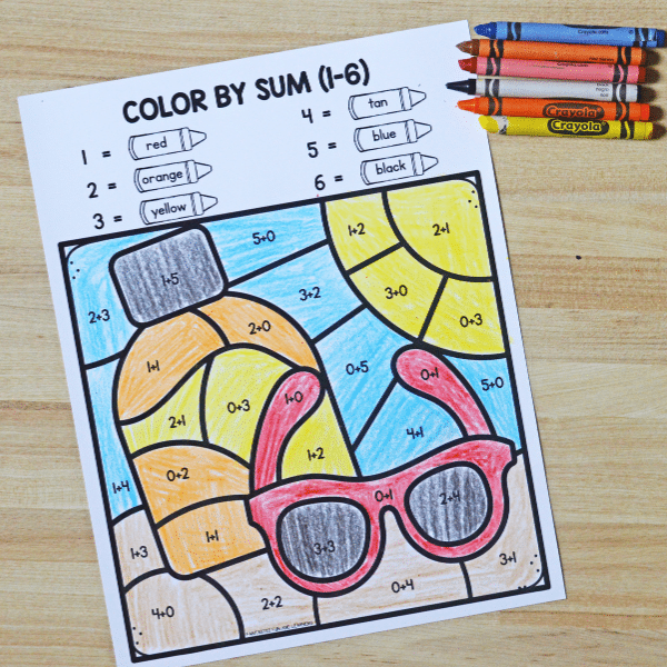 Free printable color by code activities for kindergarten and first grade
