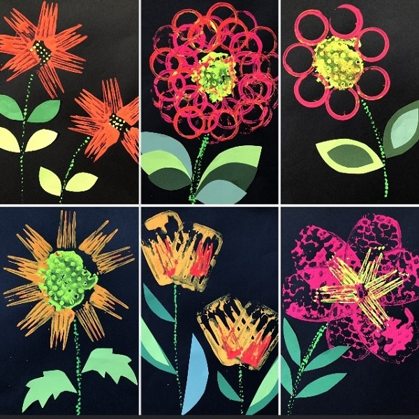 Printing Flowers with Kitchen Utensils-Spring Art Project for Kids