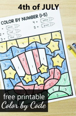Free printable 4th of July Color by Code Math Worksheets