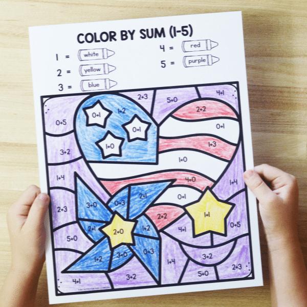 Free printable color by sum America worksheet