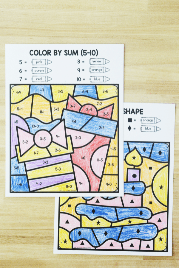 Birthday Color by Code Math Games for Kids