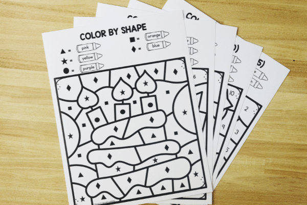 Birthday Color by Code Math Worksheets