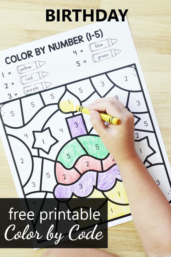 Free Printable Birthday Color by Code Math Worksheets