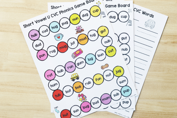 Short U CVC Game Free Printable Contents