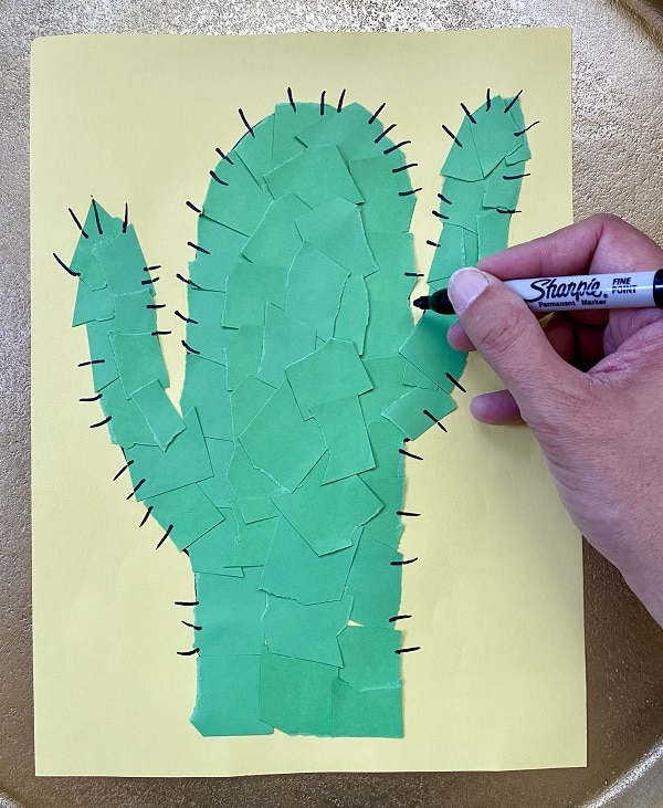 Step 3-Add details to cactus art project