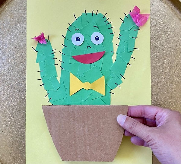 Step 4-Add facial features and decorations to cactus craft
