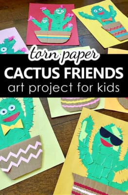 Torn Paper Cactus Art Project-Fine Motor Activity and Craft for Kids