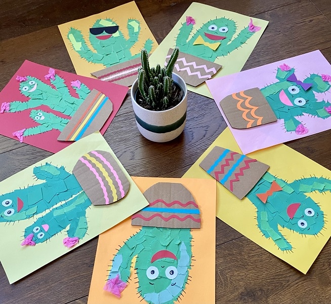 Torn Paper Cactus Craft and Fine Motor Activity for Kids