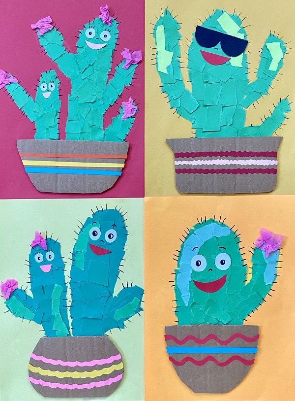 Torn Paper Cactus Friends Easy Art Project for Kids