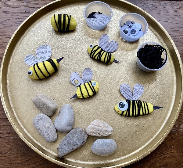 Completed bee craft project for insect theme and kids art project