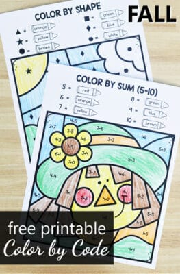 Free Printable Fall Color by Code Math Worksheets and Autumn Activities for PreK and Kindergarten