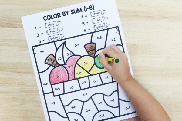 Free printable color by number, sum and shape activities