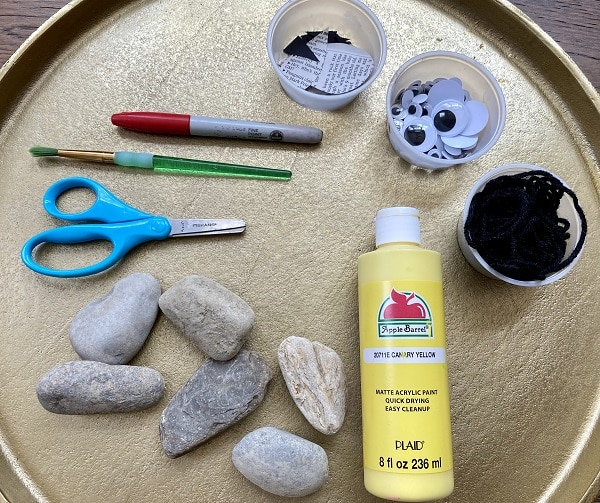 Materials for painted rock art project-bee craft