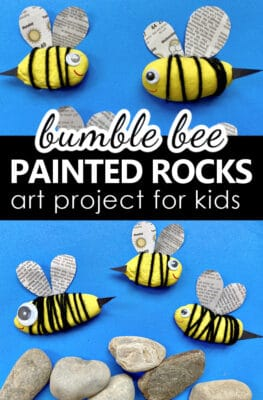 Painted Rock Bee Art Project and Easy Bee Craft Idea for Kids