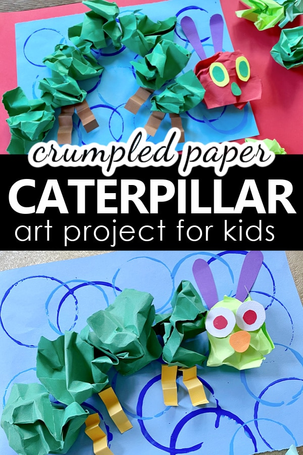 Crumpled Paper Caterpillar Art Project and Craft Idea for Kids