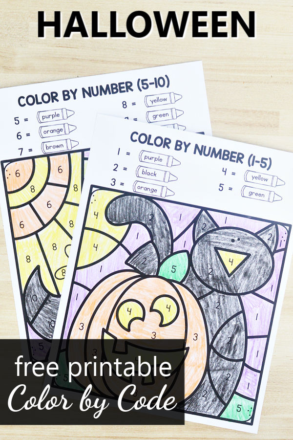 Free Printable Halloween Color by Code Math Worksheets and Halloween Activities for PreK and Kindergarten