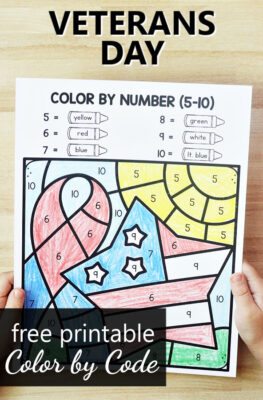 Free Printable Veterans Day Color by Code Math Worksheets and Veterans Day Activities for PreK and Kindergarten