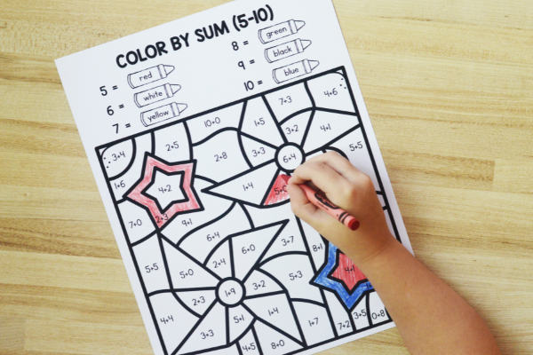 Free printable color by code addition activities