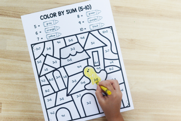 Halloween color by code math printables