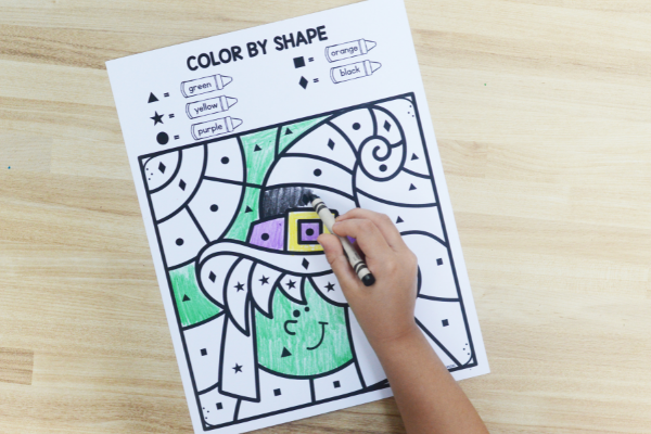 Halloween color by shape free printable