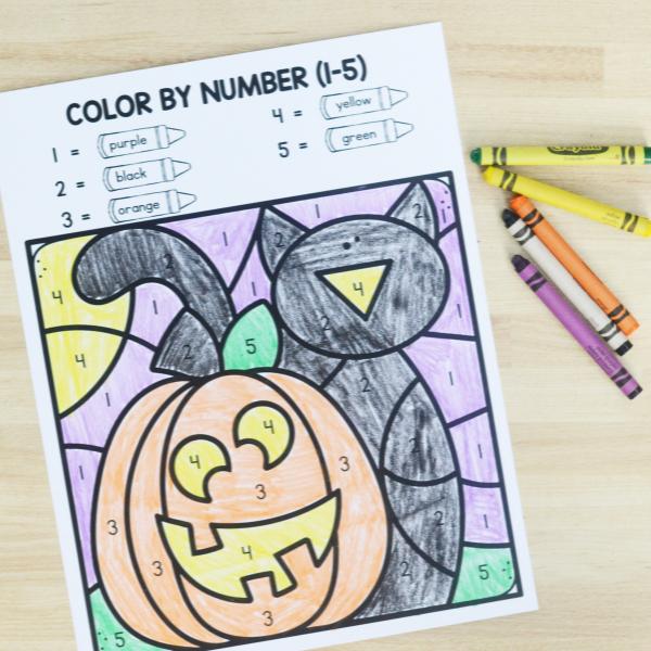 Halloween math worksheet for prekindergarten and kindergarten
