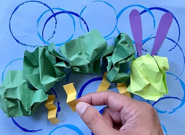 How to make a caterpillar craft-Add legs