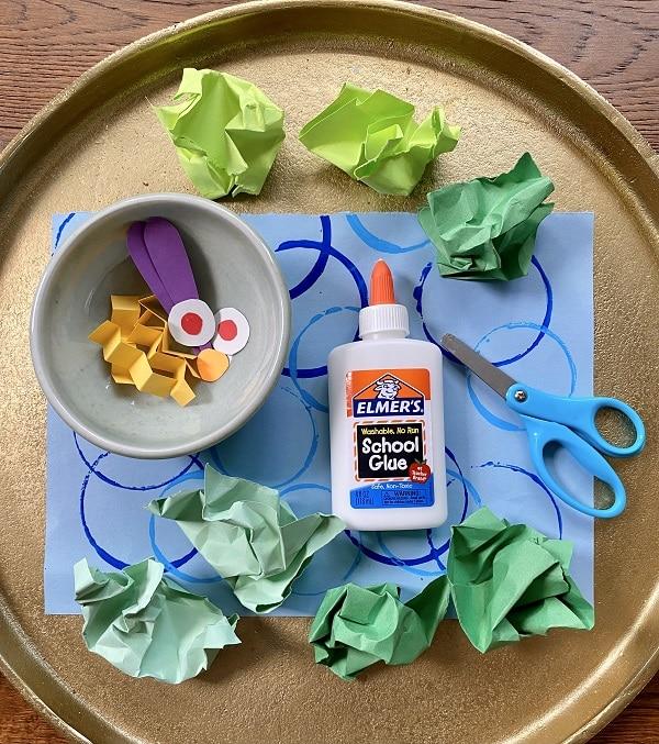 Materials for Crumpled Paper Caterpillar Craft for Kids