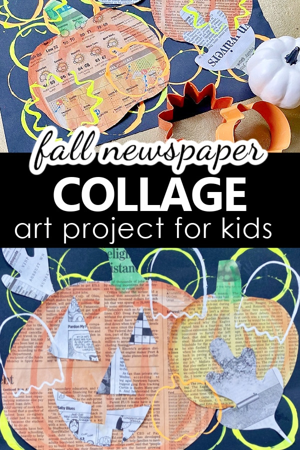Fall Newspaper Collage Art Project for Kids