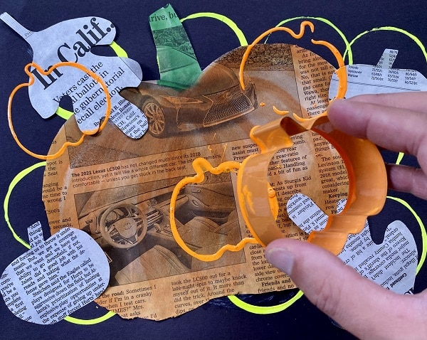 Fall Newspaper Collage Art Project for Kids-Add additional details