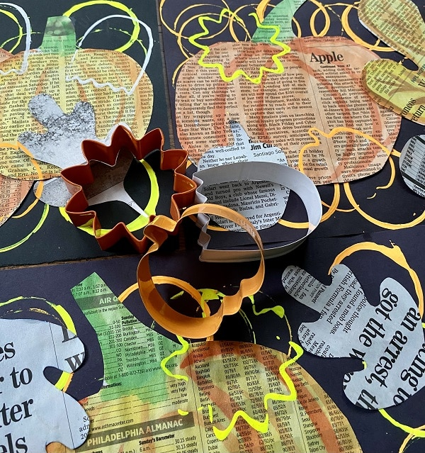 Fall Newspaper Collage Art Project for Kids-Easy Fall Art Project