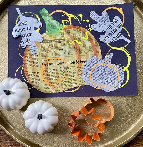 Fall Newspaper Collage Art Project for Kids-Easy Paper Art Project Idea for Autumn