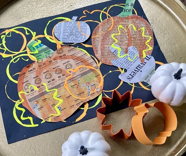 Fall Newspaper Collage Art Project for Kids-Elementary Art Project for Fall