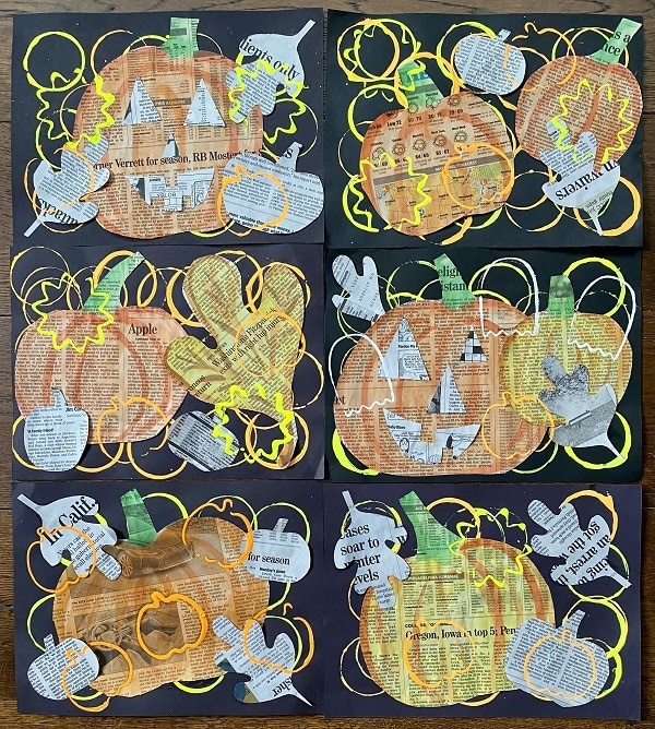 Fall Newspaper Collage Art Project for Kids-Halloween Craft for Kids