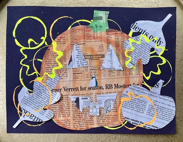 Fall Newspaper Collage Art Project for Kids-Jack-o-Lantern Halloween Art Project