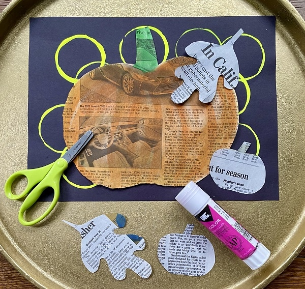 Fall Newspaper Collage Art Project for Kids-Practice Scissor Skills and Gluing