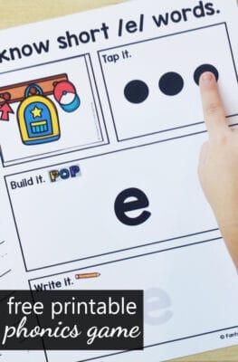 Free Printable Short E CVC Word Building Phonics Game