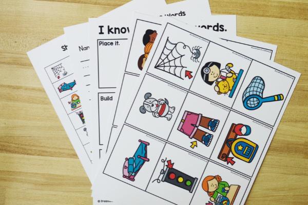 Free printable short e cvc phonics word game for kindergarten